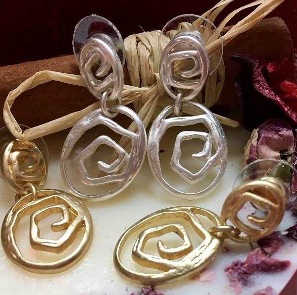 "Auskarai ""Spiralinė rožė"""